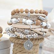 Украшения handmade. Livemaster - original item Beige boho bracelet with pearls and