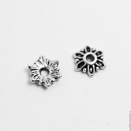 Шапочки для бусин размером 8-14мм `Цветочки`. античное серебро