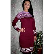 Одежда handmade. Livemaster - original item Dress with a Norwegian ornament Burgundy. Handmade.