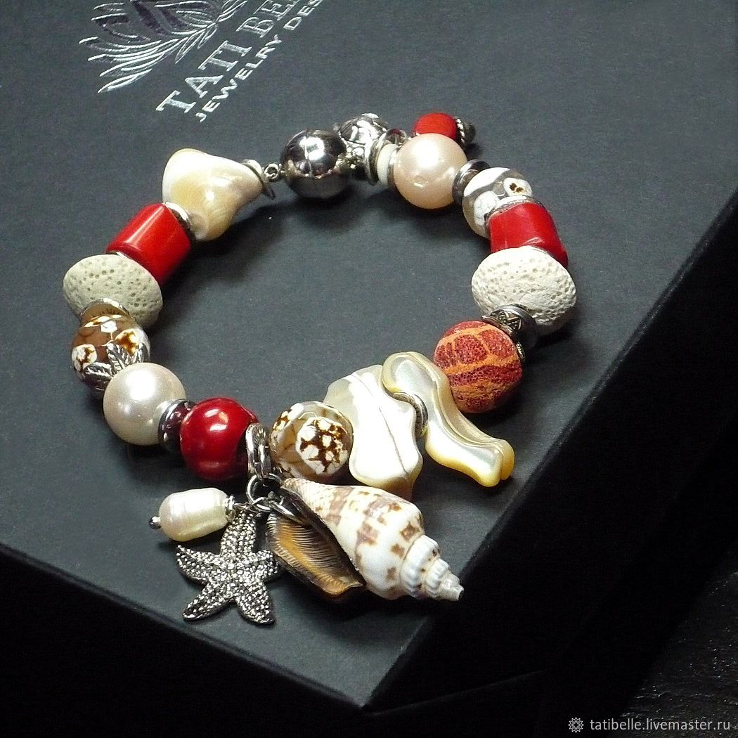 Bracelet made of natural stones ' Coral Reefs', Bead bracelet, Moscow,  Фото №1