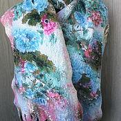 """Аксессуары ручной работы. Ярмарка Мастеров - ручная работа валяный шарф на шифоне """" Бирюзовый шарм"""" есть в наличии. Handmade."""