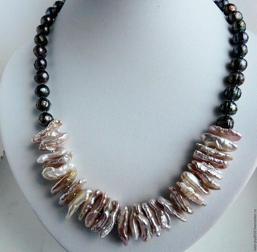 Колье, бусы ручной работы. Ярмарка Мастеров - ручная работа. Купить Ожерелье  из розового  жемчуга кейши. Handmade. Жемчужное ожерелье
