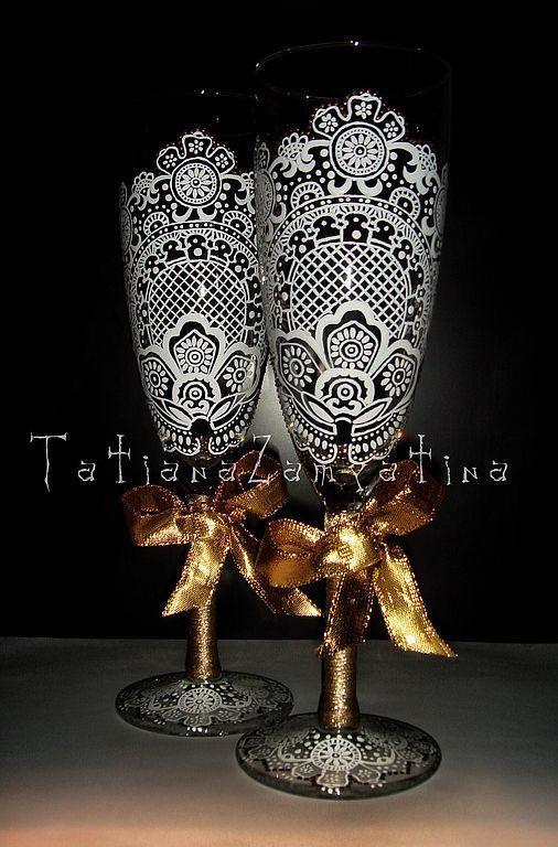 Бокалы, стаканы ручной работы. Ярмарка Мастеров - ручная работа. Купить Свадебные бокалы. Handmade. Свадьба, подарок, роспись, авторская