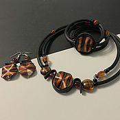 Украшения handmade. Livemaster - original item Jewelry sets: stylish jewelry necklace on rubber cords. Handmade.