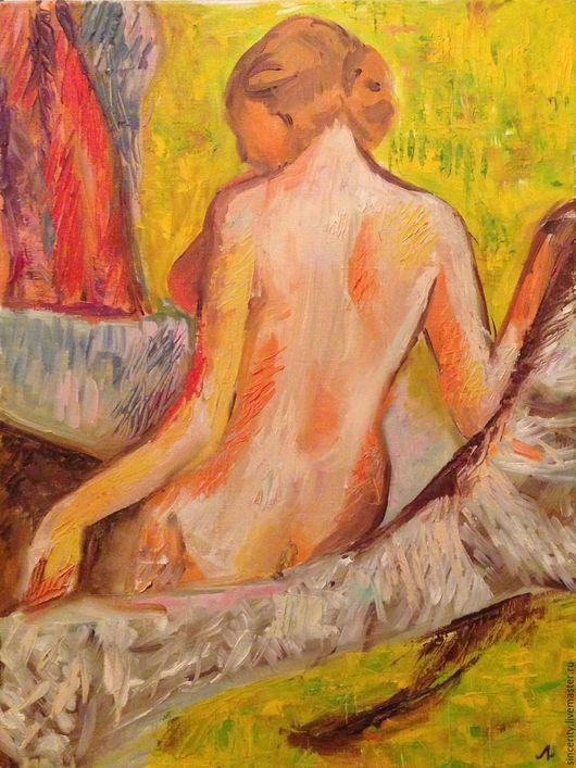 """Люди, ручной работы. Ярмарка Мастеров - ручная работа. Купить Картина маслом """"Девушка после купания"""". Handmade. Масло, купальщица"""