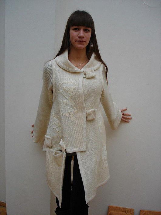 Верхняя одежда ручной работы. Ярмарка Мастеров - ручная работа. Купить Куртка-жакет. Handmade. Белый, жакет из шерсти