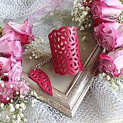 Украшения handmade. Livemaster - original item Leather bracelet Crimson lace. Handmade.