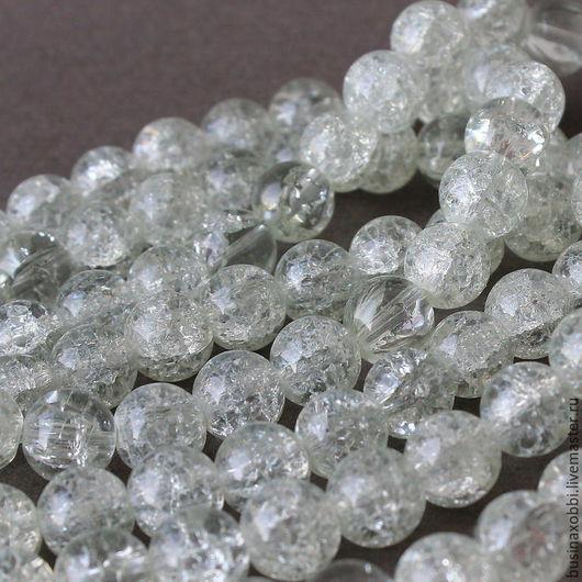 Бусины кварц кракле прозрачный 10 мм ниткой 77 см Бусины из стекла кварца, как бы треснутого внутри.  Бусины кварца кракле круглого сечения, диаметром 10 мм. Бусины кварца имеют прозрачный цвет