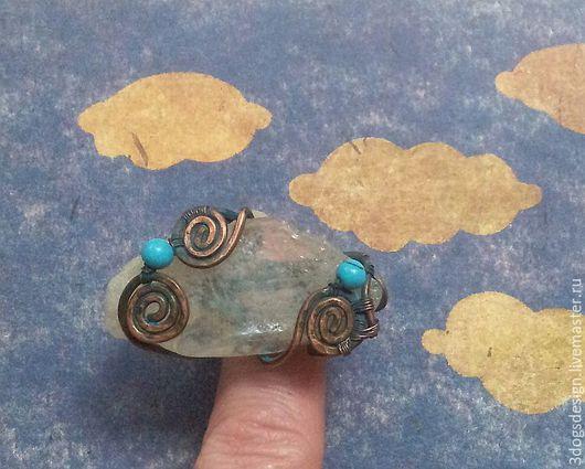 """Кольца ручной работы. Ярмарка Мастеров - ручная работа. Купить Облако-рай, большое """"дикое"""" кольцо из меди с морским стеклом. Handmade."""