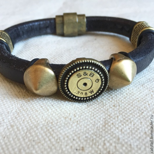 Браслеты ручной работы. Ярмарка Мастеров - ручная работа. Купить Брутальный браслет №2. Handmade. Черный, кожаный браслет