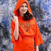 Одежда handmade. Livemaster - original item Summer orange suit with stripes, loose t-shirt with hood. Handmade.