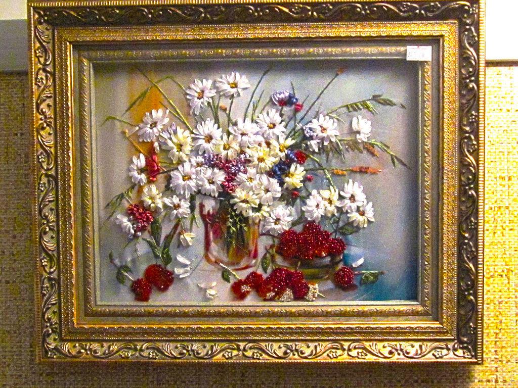 Вышивка лентами и крестом в одной картине 30