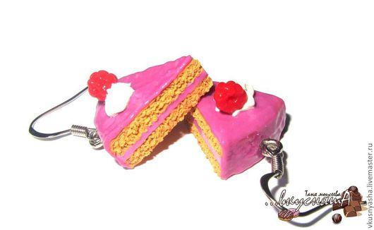 """Серьги ручной работы. Ярмарка Мастеров - ручная работа. Купить Розовые серьги """"Малиновый торт"""" из полимерной глины. Handmade. Розовый"""