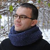 Аксессуары ручной работы. Ярмарка Мастеров - ручная работа Мужской шарф-снуд темно-синий меланж (полушерсть). Handmade.