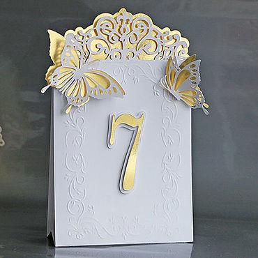 """Свадебный салон ручной работы. Ярмарка Мастеров - ручная работа """"Золотые бабочки"""" номер на стол. Handmade."""