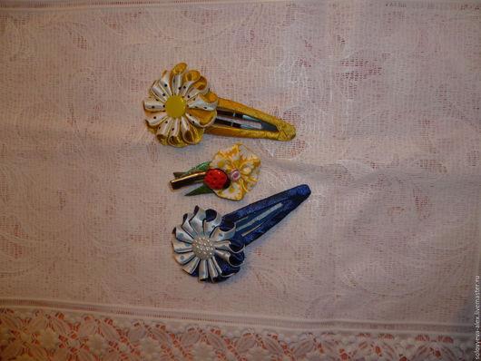 Заколки ручной работы. Ярмарка Мастеров - ручная работа. Купить заколки с цветами. Handmade. Комбинированный, заколка для волос, заколка-зажим