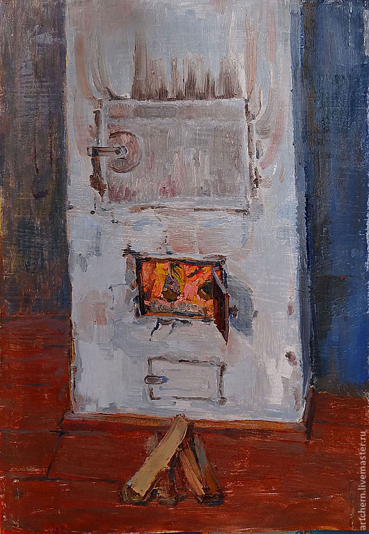 Город ручной работы. Ярмарка Мастеров - ручная работа. Купить Печка. Handmade. Синий, печка, картина, в подарок, дом, огонь
