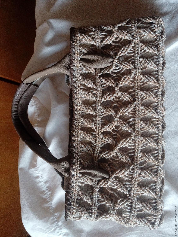 Сумка плетеная на льняной подкладке
