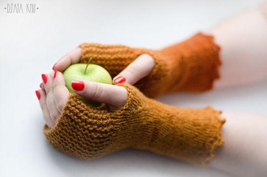 Варежки, митенки, перчатки ручной работы. Ярмарка Мастеров - ручная работа. Купить Митенки Рыжая осень. Handmade. Митенки, оранжевый