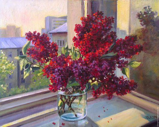 """Картины цветов ручной работы. Ярмарка Мастеров - ручная работа. Купить картина """"Весна"""". Handmade. Комбинированный, май, дворик, окно"""