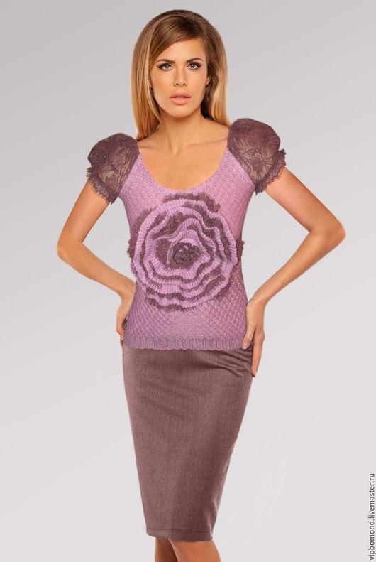 Кофты и свитера ручной работы. Ярмарка Мастеров - ручная работа. Купить Джемпер вязаный дизайнерский с объемным фантазийным цветком. Handmade.