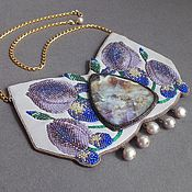 Украшения handmade. Livemaster - original item IRISES necklace fluorite, beads, pearls, nubuck, leather. Handmade.