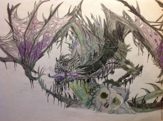 Фэнтези ручной работы. Ярмарка Мастеров - ручная работа. Купить Красавцы драконы. Handmade. Комбинированный, драконы, цветные карандаши