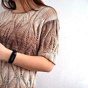 Одежда handmade. Livemaster - original item Cotton knitted top, Leaves openwork pullover summer.. Handmade.