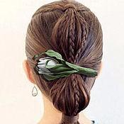 Украшения handmade. Livemaster - original item THE COLORS OF THE SKIN.Hair clip machine hair White TULIP.Silk flowers. Handmade.