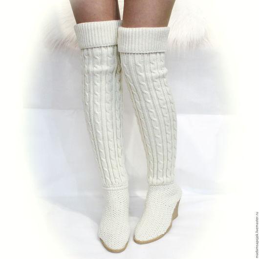 Обувь ручной работы. Ярмарка Мастеров - ручная работа. Купить Ботфорты Вязаные. Handmade. Белый, вязаные сапожки, сапоги весенние