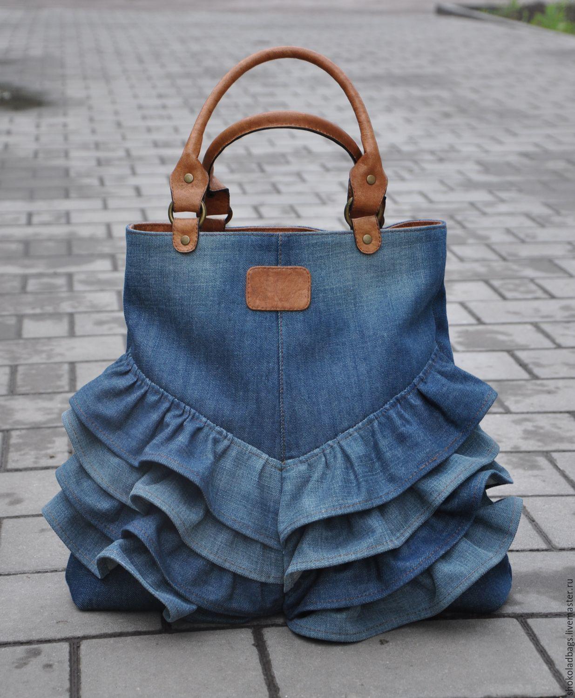23aa88538ac6 Женские сумки ручной работы. Ярмарка Мастеров - ручная работа. Купить Джинсовая  сумка с кожей ...
