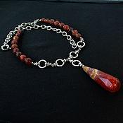Украшения ручной работы. Ярмарка Мастеров - ручная работа Бусы  с  кулоном  из  натурального камня  красной  яшмы. Handmade.
