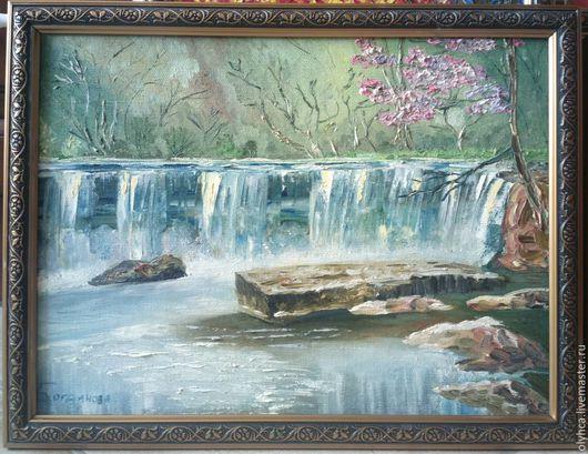 Пейзаж ручной работы. Ярмарка Мастеров - ручная работа. Купить Водопад. Handmade. Голубой, природа, картина в подарок, картина для интерьера