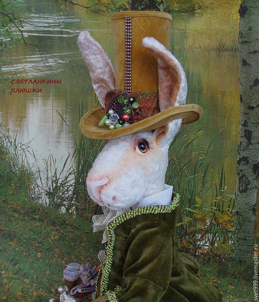 """Мишки Тедди ручной работы. Ярмарка Мастеров - ручная работа. Купить плюшевый кролик """"Белый Кролик Мартин""""( в оливково-горчичном). Handmade."""