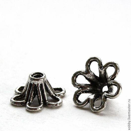 Шапочки для бусин Цветок Материал сплав с покрытием Цвет античное серебро