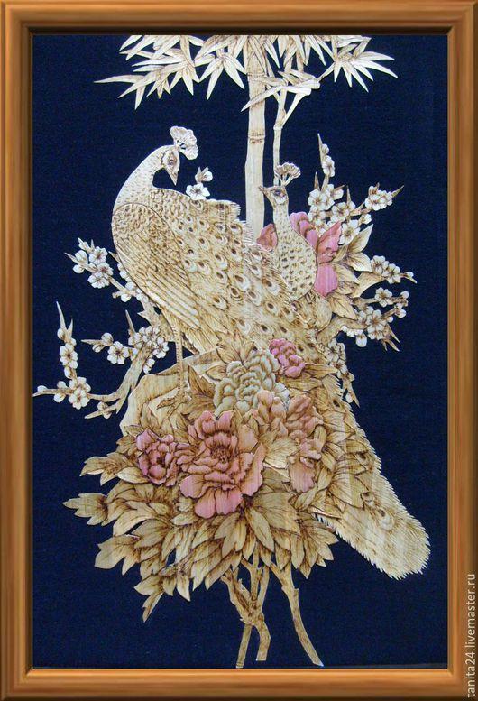 """Животные ручной работы. Ярмарка Мастеров - ручная работа. Купить Панно """"Павлины"""". Handmade. Золотистый, картина, природный материал, соломка"""