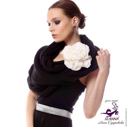 Дизайнер Анна Сердюкова (Дом Моды SEANNA).  Вязаный снуд шарф хомут пончо `Нежный черный` из итальянского мохера. Безразмерный. Цена - 3950 руб.