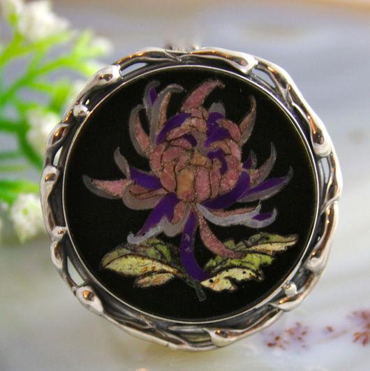 """Кольца ручной работы. Ярмарка Мастеров - ручная работа. Купить Кольцо """"Хризантема"""" - флорентийская мозаика, серебро. Handmade."""
