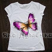 Одежда handmade. Livemaster - original item T-shirt  hand painted butterfly. Handmade.