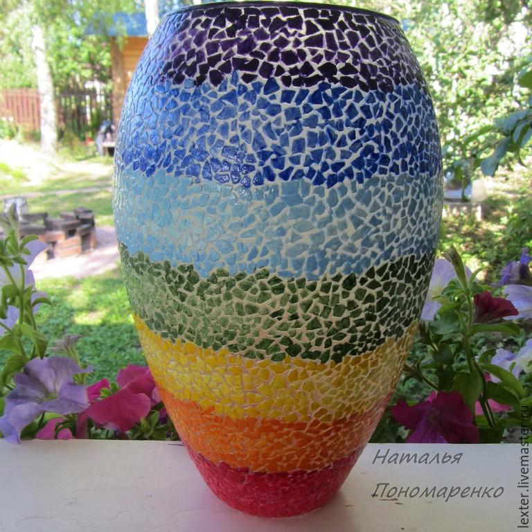 Вазы ручной работы. Стеклянная ваза  Настроение - радуга