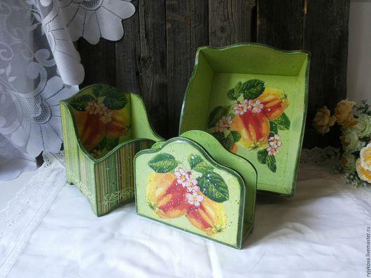 """Кухня ручной работы. Ярмарка Мастеров - ручная работа. Купить Кухонный набор """"Яблоневый цвет"""". Handmade. Зеленый, подарок женщине"""