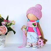 Кукла интерьерная. Кукла текстильная. Девочка с мишкой и скворечником