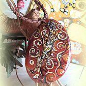 """Подвеска ручной работы. Ярмарка Мастеров - ручная работа Кулон роспись на камне """" Древо Жизни """" лаковая миниатюра. Handmade."""