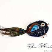Украшения handmade. Livemaster - original item Brooch bird blue bird fancy leather labradorite 2. Handmade.