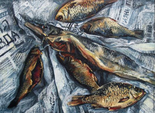 Натюрморт ручной работы. Ярмарка Мастеров - ручная работа. Купить Натюрморт с рыбой. Handmade. Комбинированный, натюрморт с рыбой, газета