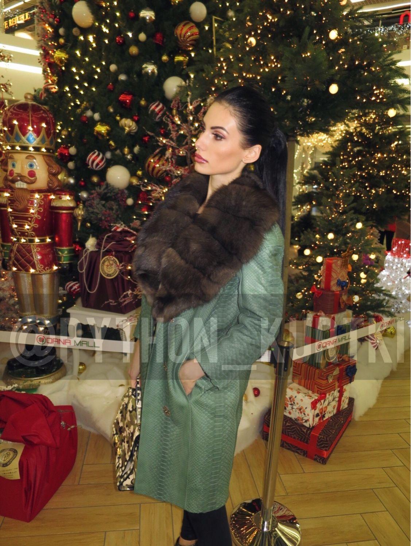 Пальто из кожи натурального королевского питона с мехом соболем!, Пальто, Москва,  Фото №1