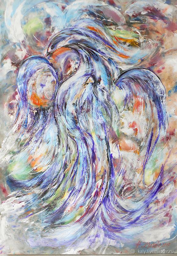 Abstract art Blue bird print digital, handprint wall art printable ...