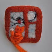 """Украшения ручной работы. Ярмарка Мастеров - ручная работа Брошь """"Кот и снегирь"""". Handmade."""