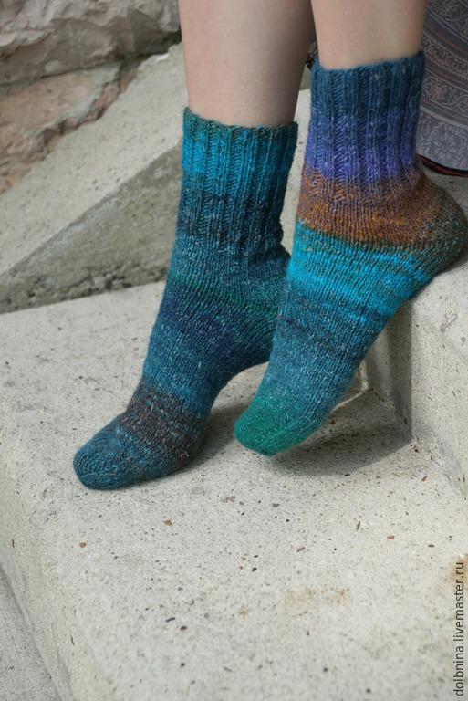 Носки, Чулки ручной работы. Ярмарка Мастеров - ручная работа. Купить Женские носки Noro brown&aqua. Handmade. Синий