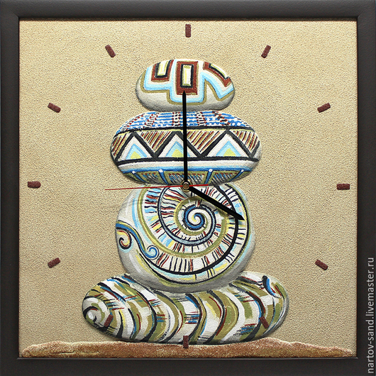 """Часы для дома ручной работы. Ярмарка Мастеров - ручная работа. Купить """"Созерцание"""" часы из песка. Handmade. Бежевый, камни"""